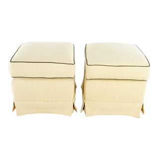 Contemporary Beige Upholstered Square Ottomans - a Pair For Sale