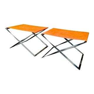 Poul Kjaerholm Vintage Iconic Pair of X-Shaped Folding Stools Model Pk91 For Sale