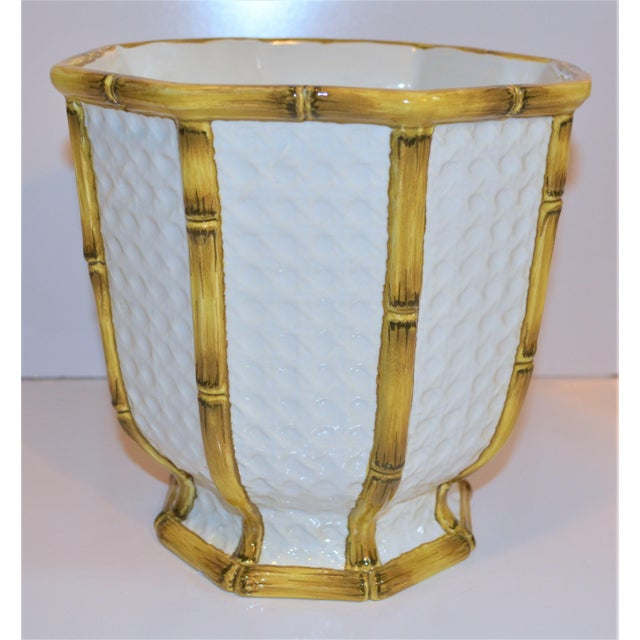 Ceramic Vintage Meiselman Italian Faux Bamboo Cachepot For Sale - Image 7 of 13