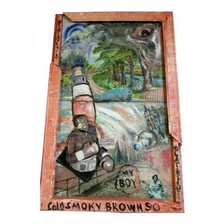 """Outsider Artist Smoky Brown Painting, """"My Boy Buster Douglas"""" For Sale"""