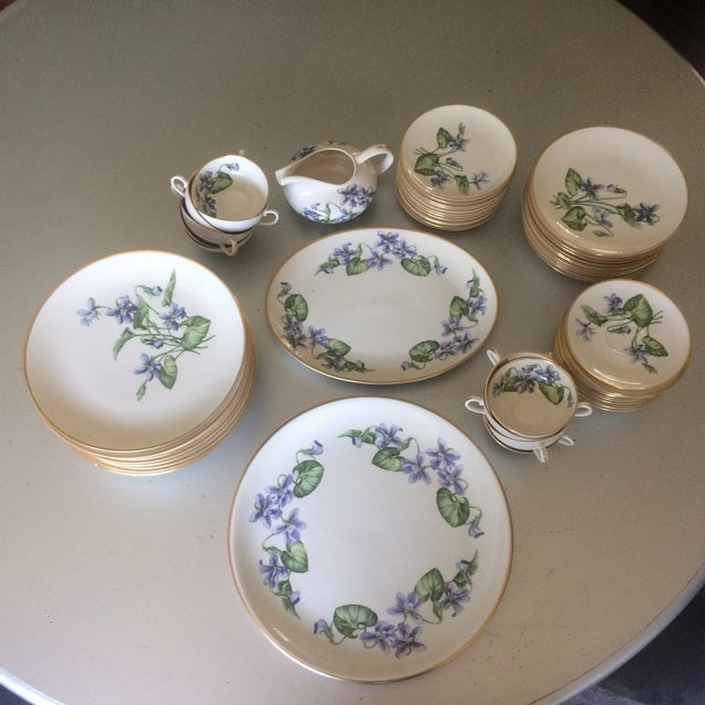 Vintage Franciscan China Olympic with Purple Violet Flowers - Set of 12 - Image 2 of 7