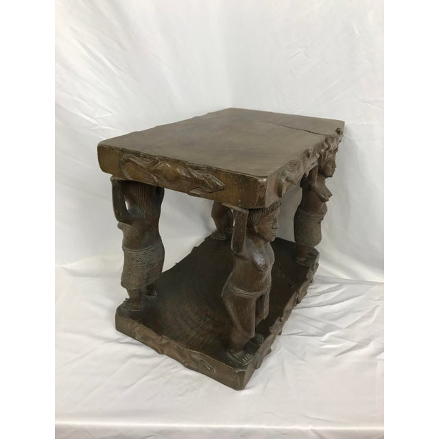 Single log carved table with figural supports. Signed by the artist TOMAS. It measures 20 inches by 12 1/2 and stands 16...