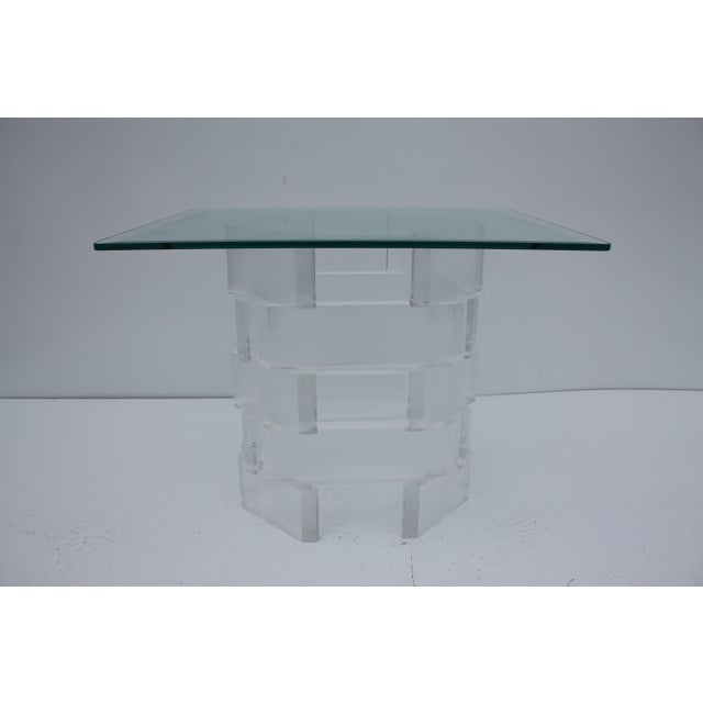 Sculptural Stacked Lucite & Glass Top Side Table - Image 3 of 10