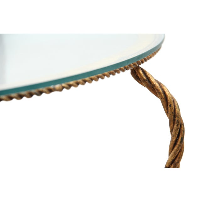 Hollywood Regency Gilt Rope Side Table - Image 4 of 6