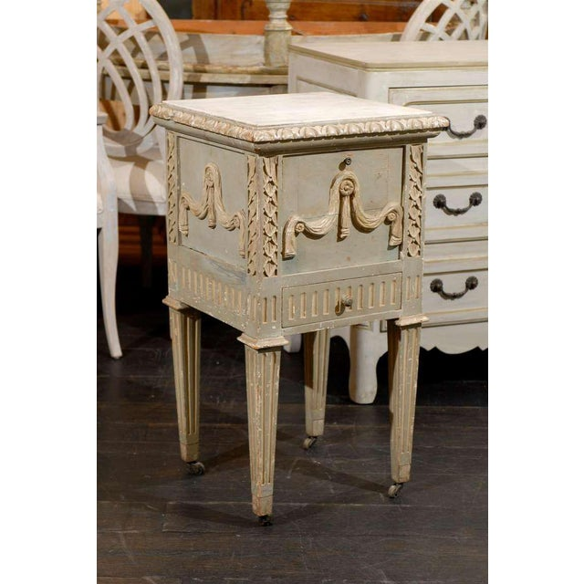 French French Drop-Front Nightstand Table on Casters and Marble Top For Sale - Image 3 of 11