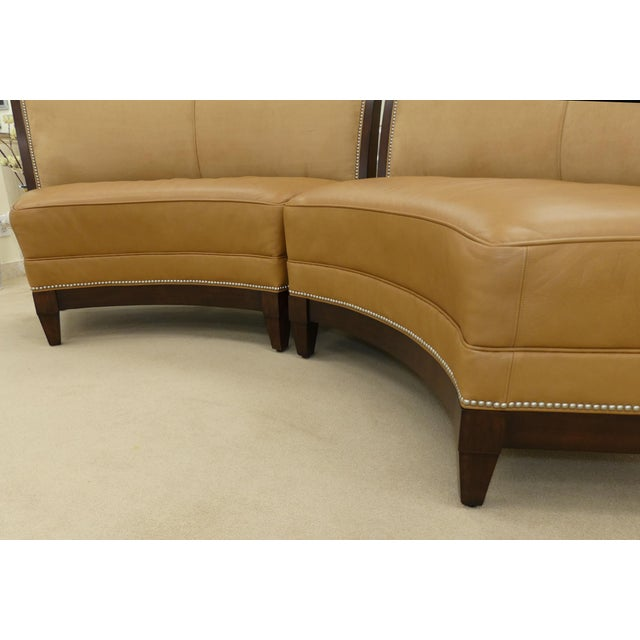 Stanford Furniture Leather & Suede Garrett Curved Dining Bench or Banquette- a Pair For Sale In Miami - Image 6 of 13