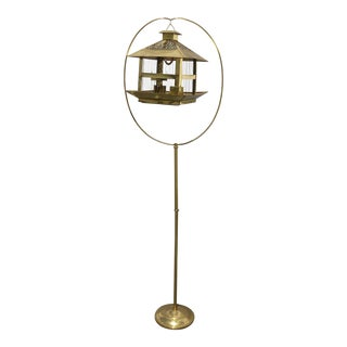Vintage Rustic Gold Bird Cage on Floor Stand For Sale