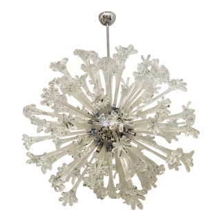 Gigantic Italian Murano Glass Flower Burst Sputnik Chandelier For Sale