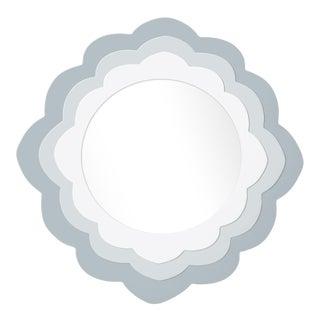 Fleur Home x Chairish Audobon Magnolia Circle Mirror in Parma Gray, 30x30 For Sale