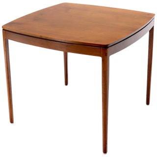 Midcentury Oiled Walnut Rounded Square Game Table For Sale