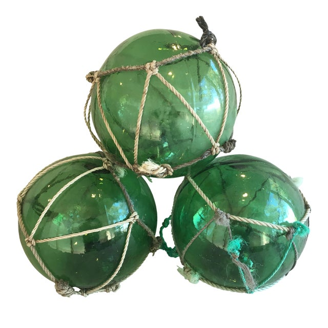 Glass Jumbo Nautical Green Glass Fishing Floats - Set of 3 For Sale - Image 7 of 8