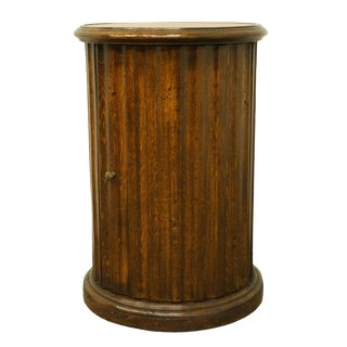 "1920's Vintage Italian Made Walnut 17"" Round Storage Accent Table For Sale"