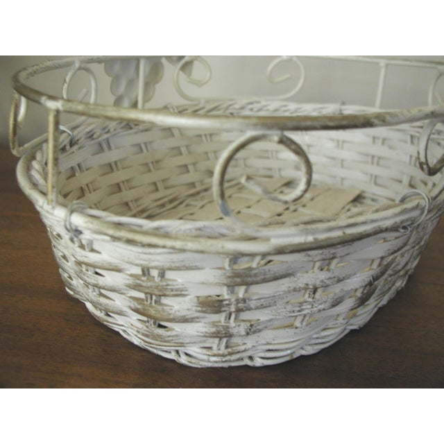20th Century Vintage Metal & Straw Oval Basket For Sale - Image 4 of 6