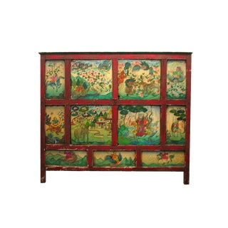 19th Century Tibetan Painted Wooden Cabinet For Sale