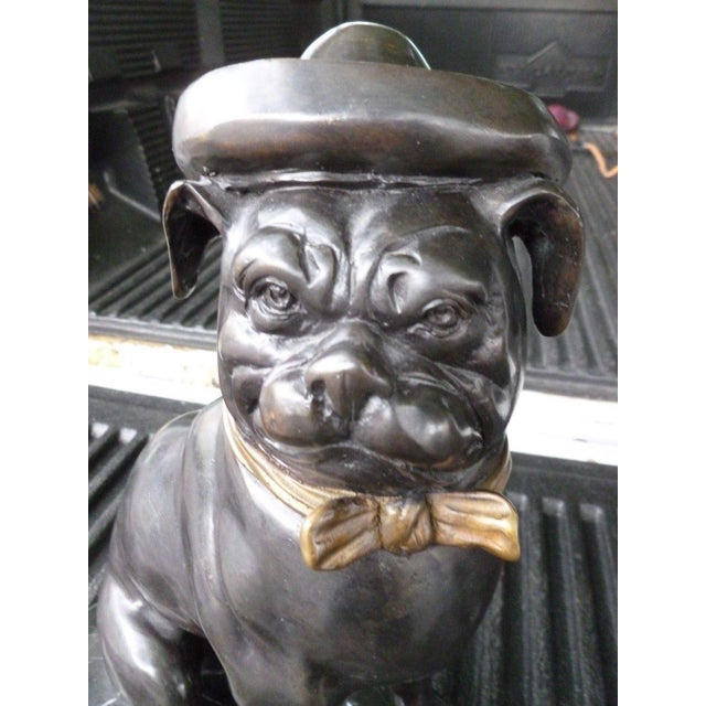 20th C Bronze Bulldogs Wearing Hats on Marble Bases - a Pair For Sale - Image 4 of 9