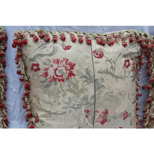 Mid 20th Century Vintage Italian/French Silk Down Embroidered Down Pillows - Set of 5 For Sale - Image 5 of 9