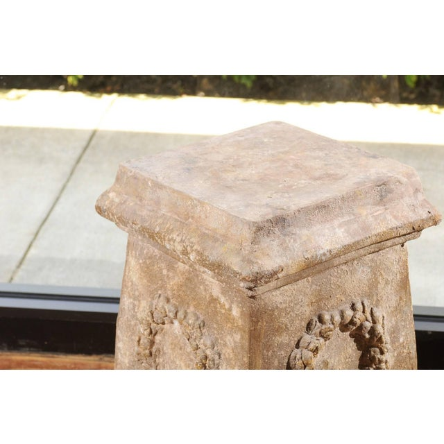 Brown Pair of Vintage Continental Faux Stone Garden Plinths with Wreath Motifs, 1960s For Sale - Image 8 of 12