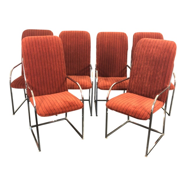 Milo Baughman for Dia High Back Dining Chairs- Set of 6 For Sale