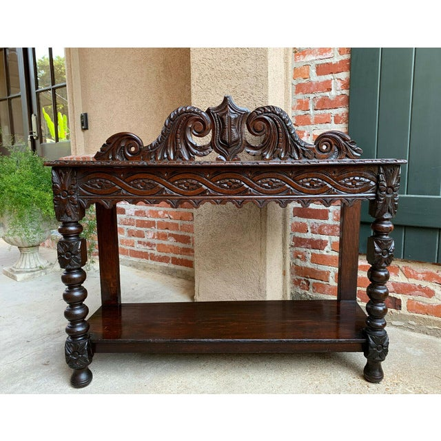 19th Century English Carved Oak Hall Foyer Table Renaissance Style Console Table Chairish