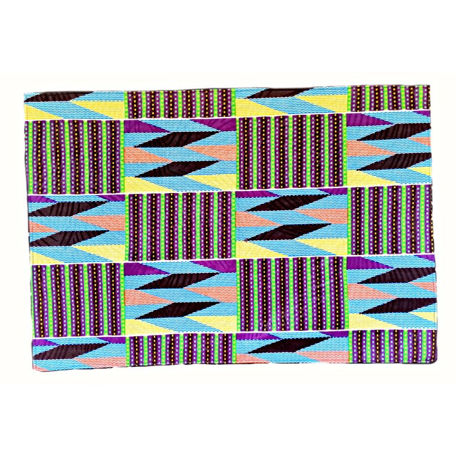 2010s African Purple Print Fabric Placemats - Set of 8 For Sale - Image 5 of 6
