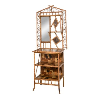 French Antique Bamboo Hallway Entry Shelf Etagere With a Vanity Mirror, 1920s For Sale
