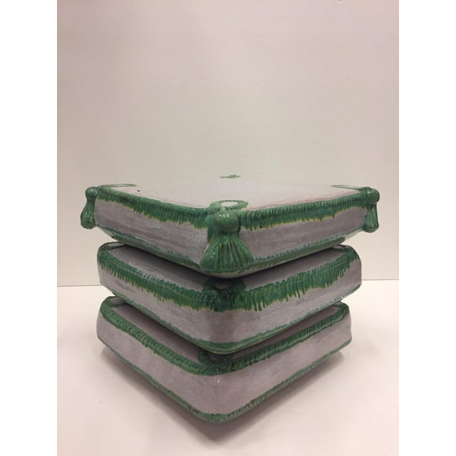 Ceramic Stacked Pillow Motife Glazed Terracotta Garden Seat Side Table For Sale - Image 7 of 9
