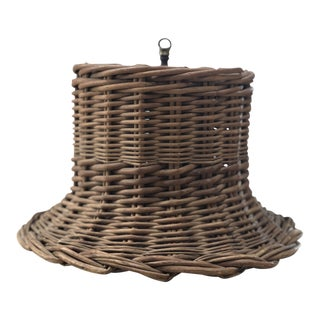 1970s Boho Chic Wicker Hanging Lamp For Sale