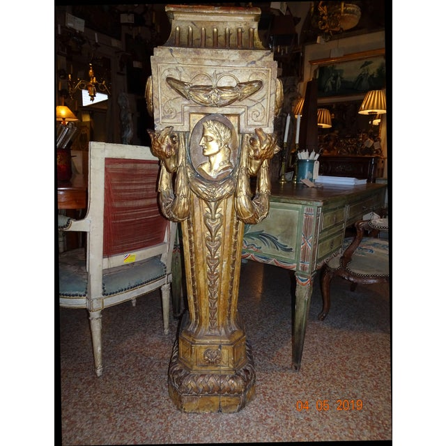 19th Century French Gilt & Painted Pedestal For Sale - Image 13 of 13