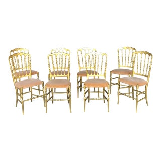 Italian Wood Chairs - Set of 8 For Sale