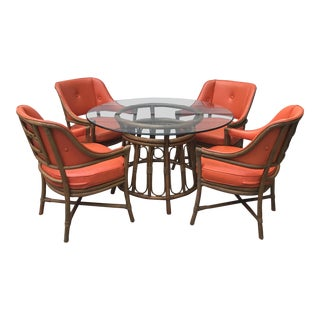 Vintage Orange Vinyl Bamboo & Rattan Dining Set - Set of 5