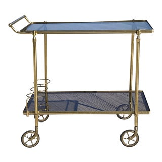 Maison Jansen Italian Brass Bar Cart For Sale
