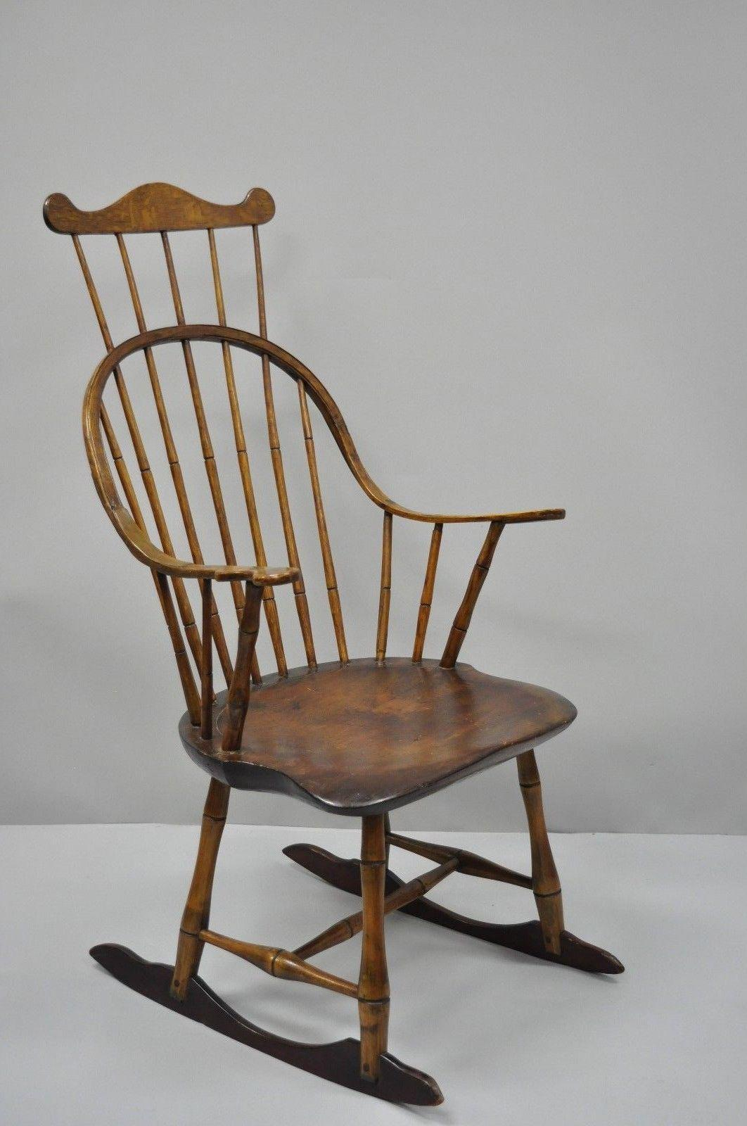 Incroyable Antique Colonial Bow Back Windsor Oak U0026 Pine Rocking Chair For Sale   Image  12 Of