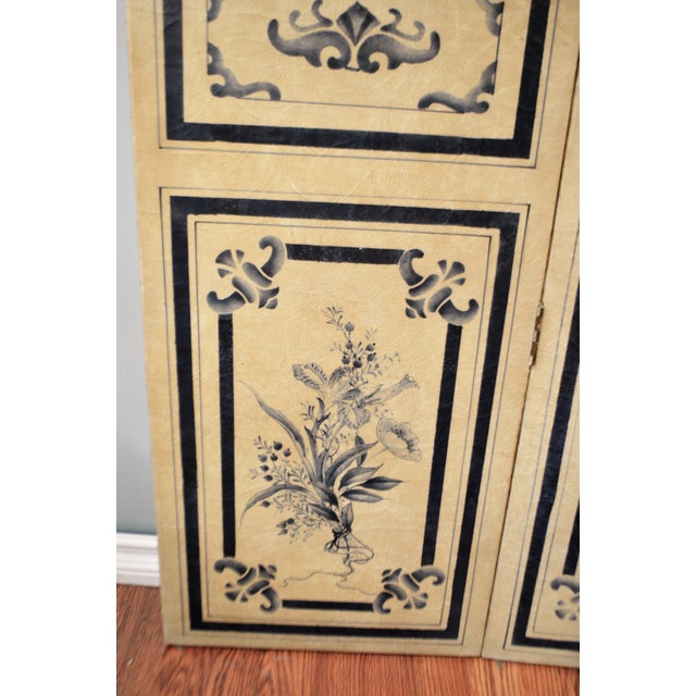 Late 19th Century 19th Century Para-Vent, Screnn, Hand Painted Floral Designs on Parchment Paper, Navy Blue and Beige. For Sale - Image 5 of 10