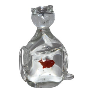 Cat That Swallowed the Fish Hand Blown Art Glass Paperweight For Sale