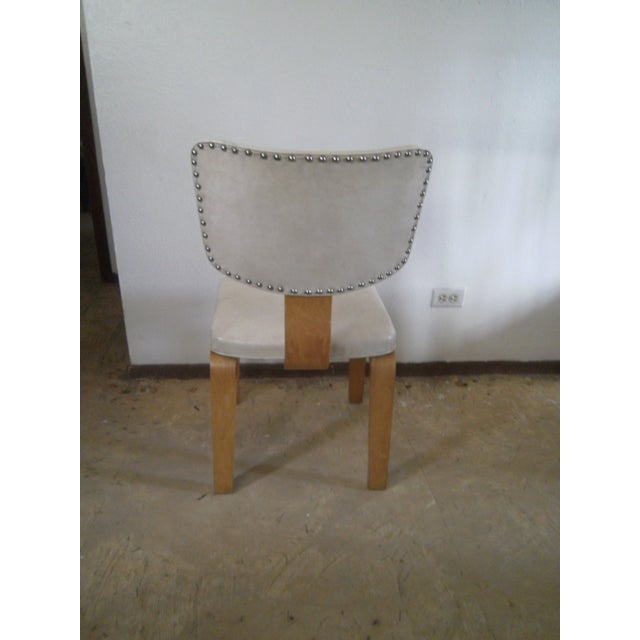 Vintage Ivory Vinyl and Birch Bentwood Chair For Sale - Image 5 of 11