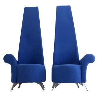 Modern Italian High Back Chairs - A Pair