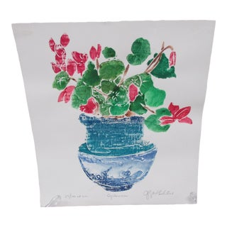 Vintage Colorful Lithograph Signed and Titled: Cyclamen For Sale