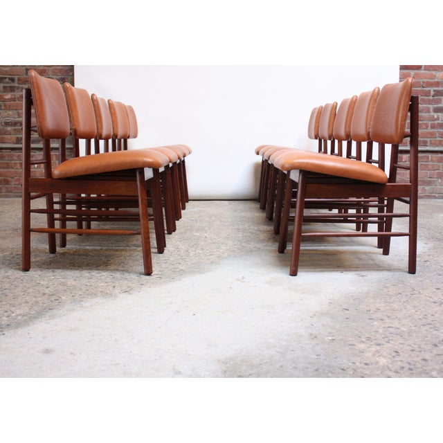 Mid-Century Modern Set of Ten Walnut and Leather Dining Chairs by Greta Grossman For Sale - Image 3 of 13