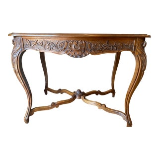 French Provincial Louis XV Walnut Console Table For Sale