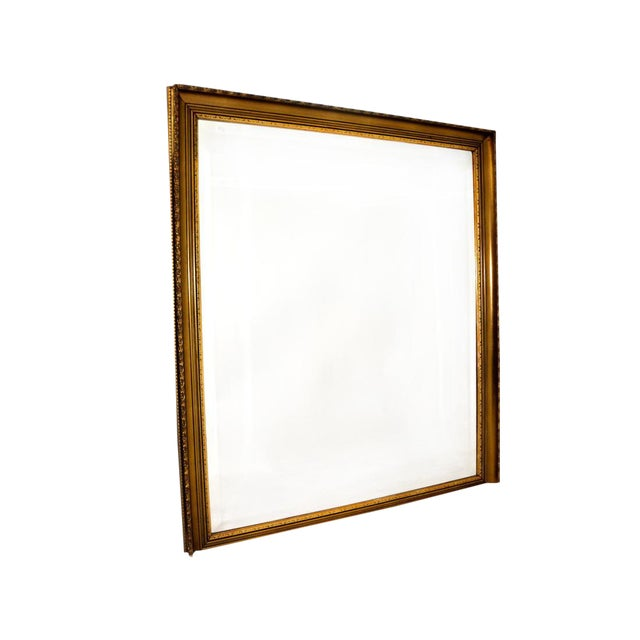 Large Square Antique French Gold Leaf Frame Mirror | Chairish