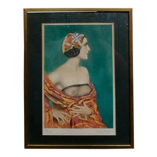 Gustave Brisgand -Portrait of a Nude Woman-French Art Deco Etching -Rare