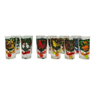 Vintage Mid Century Era 12 Days of Christmas Holiday Tumbler Glasses - Set of 12 For Sale