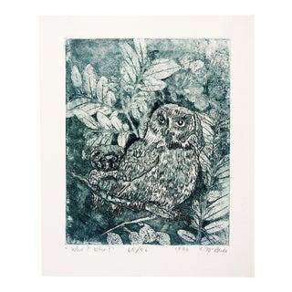 1986 E. McBride Owls Etching For Sale