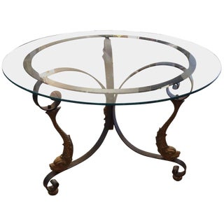 Iron and Gilded Fish Motife Round Glass Top Table For Sale