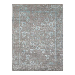 Contemporary Gray Oushak Rug with Erased Design and Modern, Abstract Style