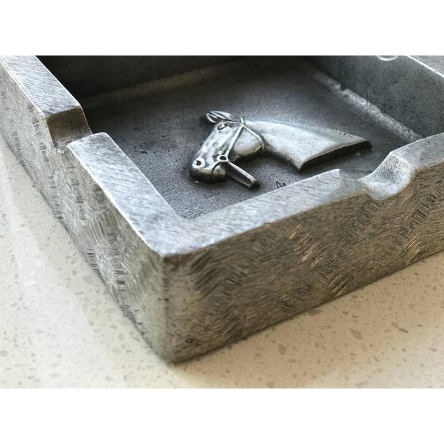 Mid-Century Modern Mid-Century Modern Equestrian Theme Ashtray in Pewter For Sale - Image 3 of 10