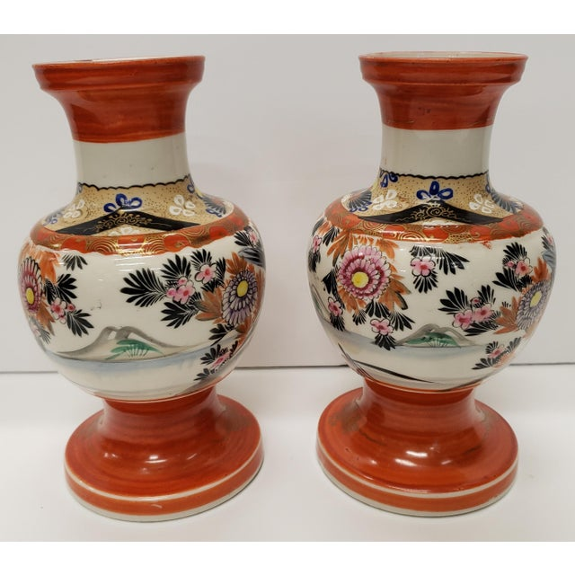 Circa 1930 Japanese Kutani Porcelain Bird/Floral Motifs Footed Baluster Vases - a Pair For Sale - Image 4 of 7