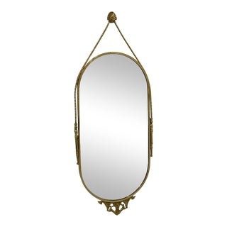 Large Oval Italian Brass Wall Mirror For Sale