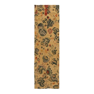 Traditional Tudor-Inspired Cream and Green Wool Floral Runner Rug - 1′11″ × 6′6″ For Sale