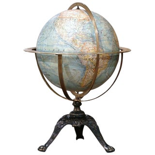 Early 20th Century French Terrestrial Globe For Sale